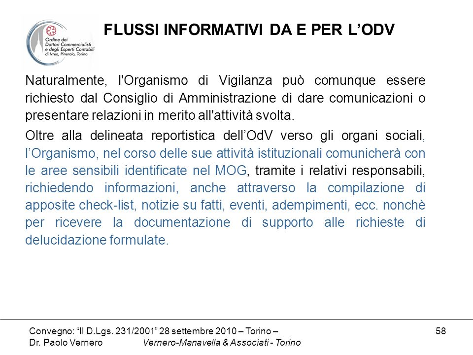 FLUSSI INFORMATIVI DA E PER L'ODV