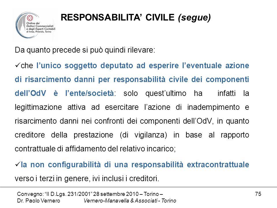 RESPONSABILITA' CIVILE (segue)