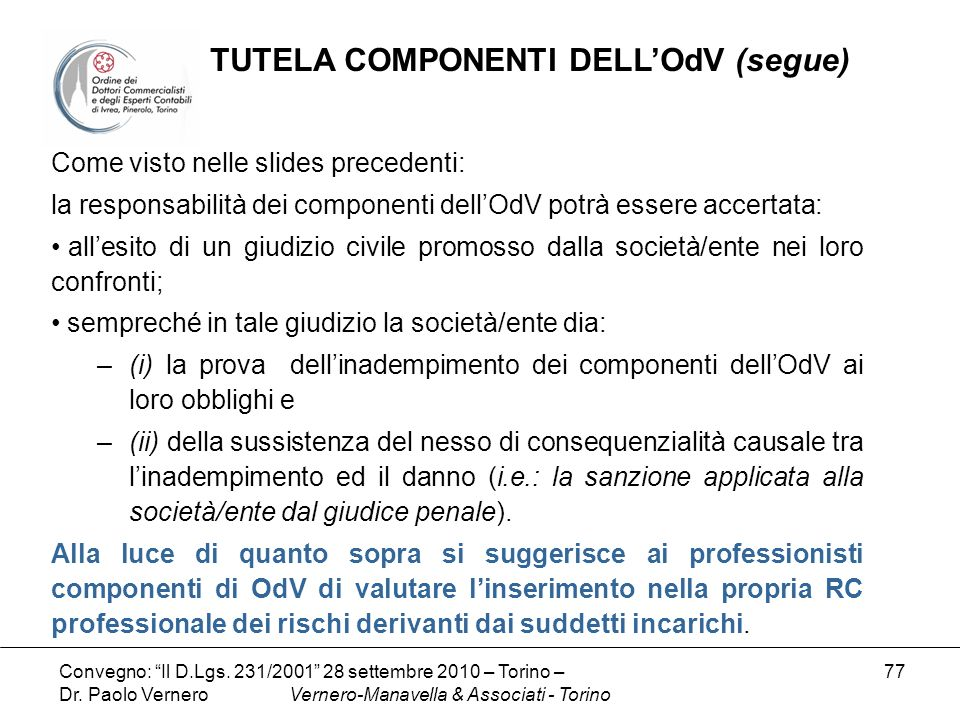 TUTELA COMPONENTI DELL'OdV (segue)
