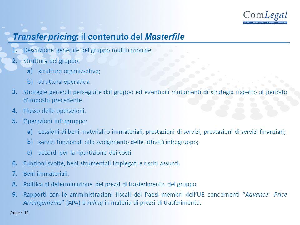 Transfer pricing: il contenuto del Masterfile