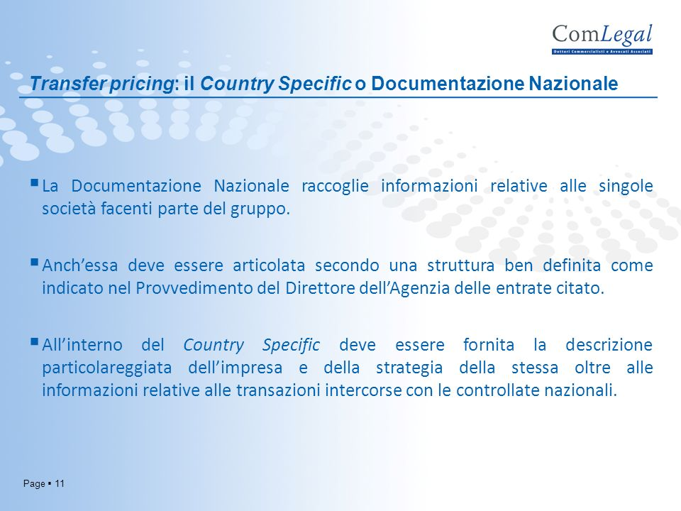Transfer pricing: il Country Specific o Documentazione Nazionale