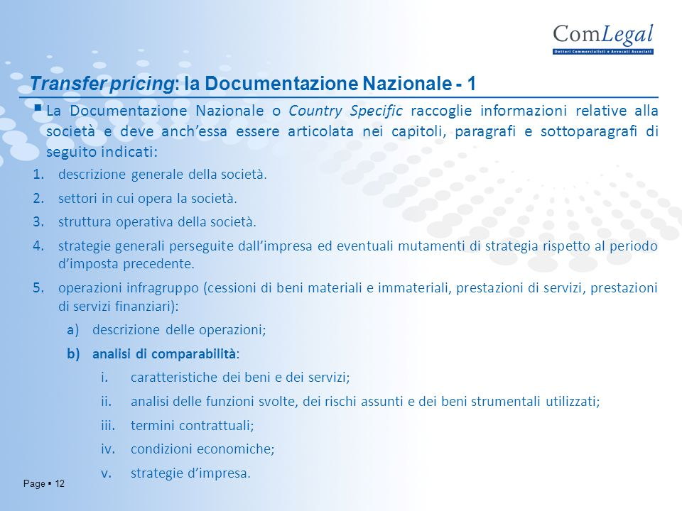 Transfer pricing: la Documentazione Nazionale - 1