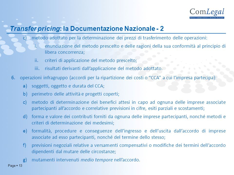Transfer pricing: la Documentazione Nazionale - 2