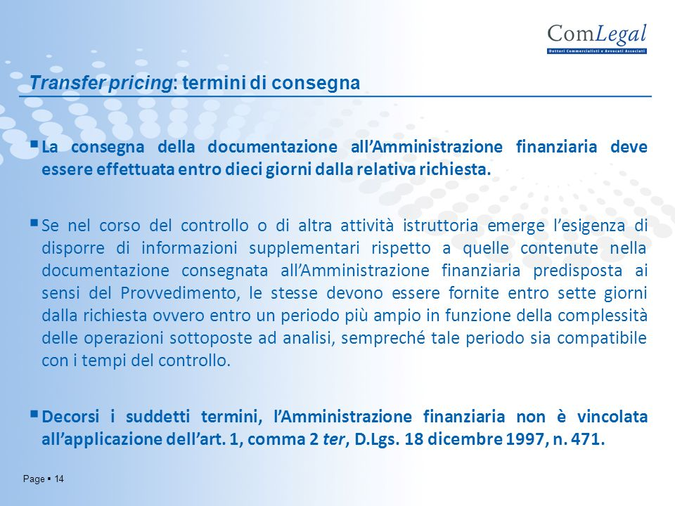 Transfer pricing: termini di consegna
