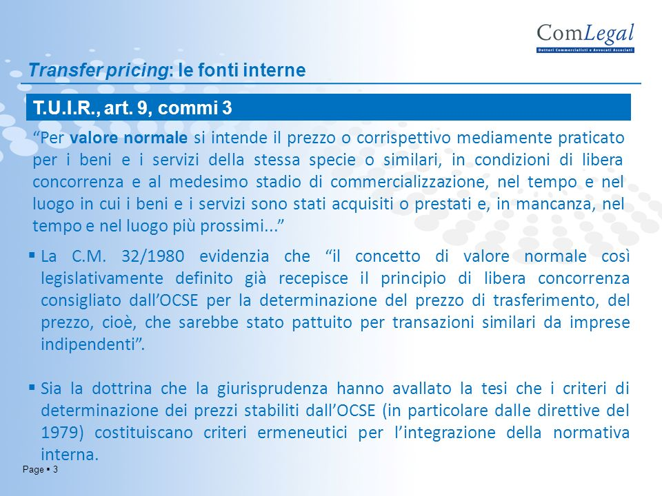 Transfer pricing: le fonti interne