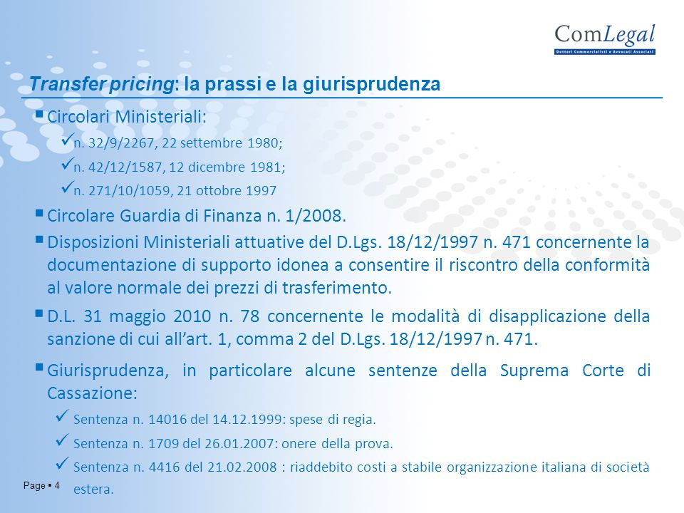 Transfer pricing: la prassi e la giurisprudenza