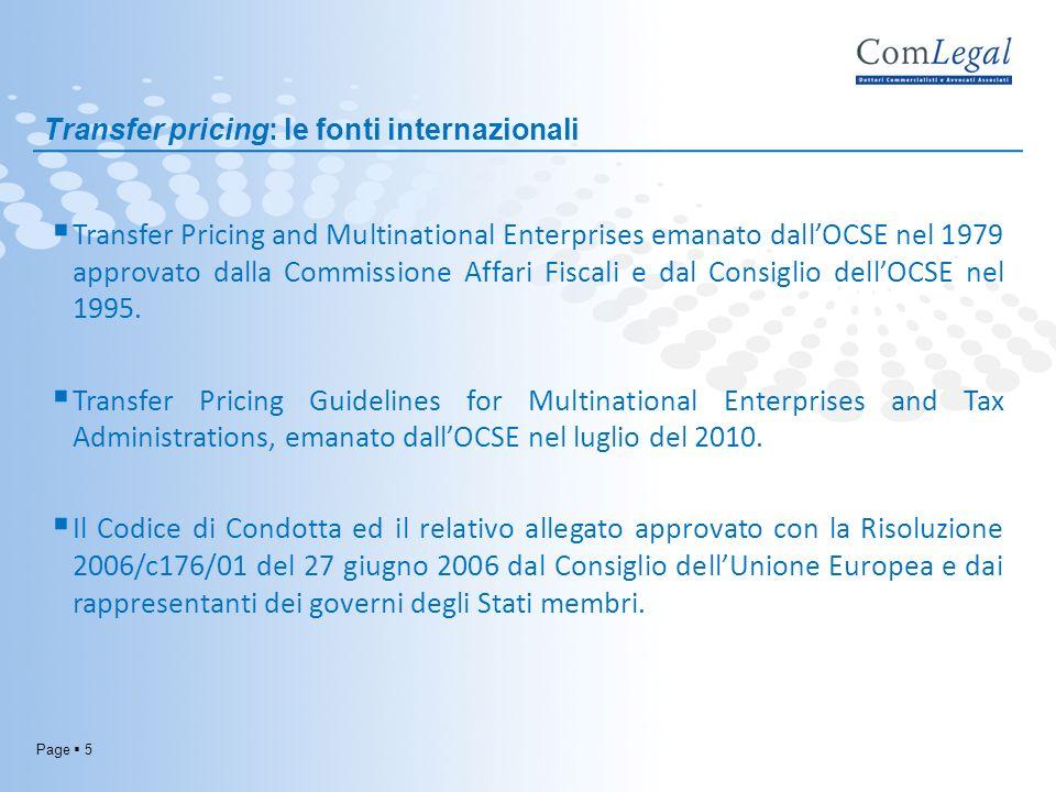 Transfer pricing: le fonti internazionali