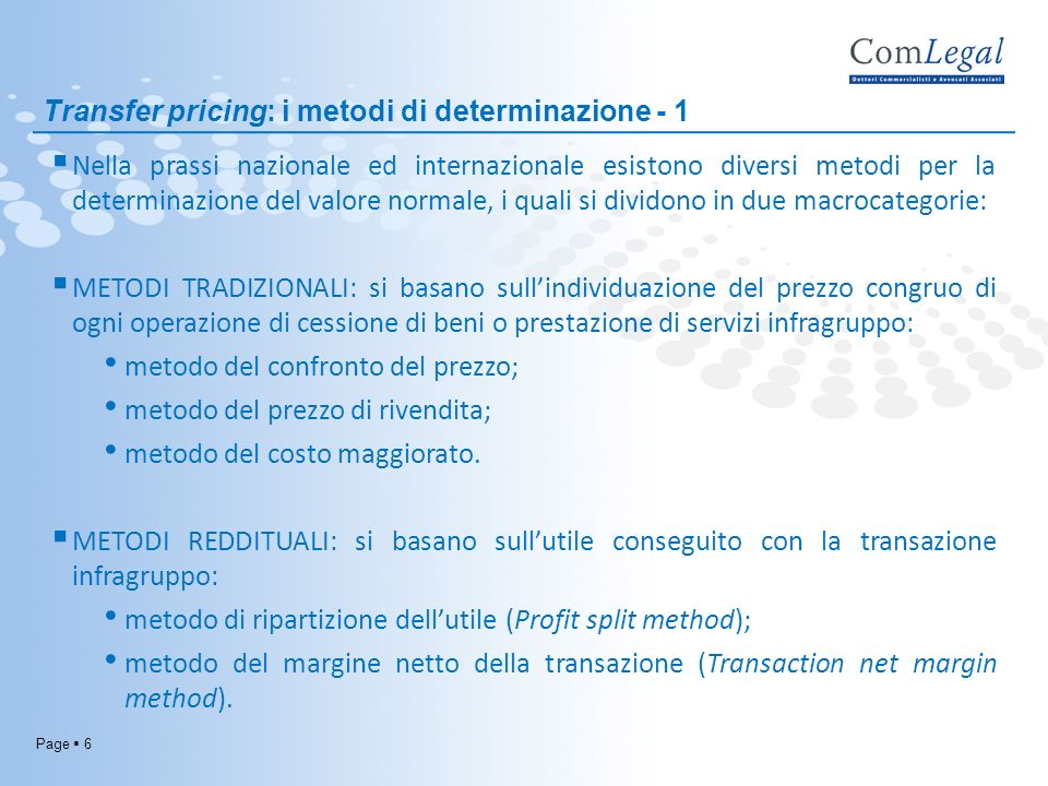 Transfer pricing: i metodi di determinazione - 1