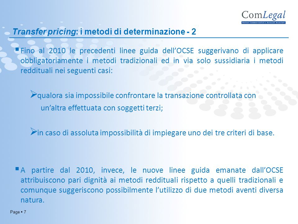 Transfer pricing: i metodi di determinazione - 2