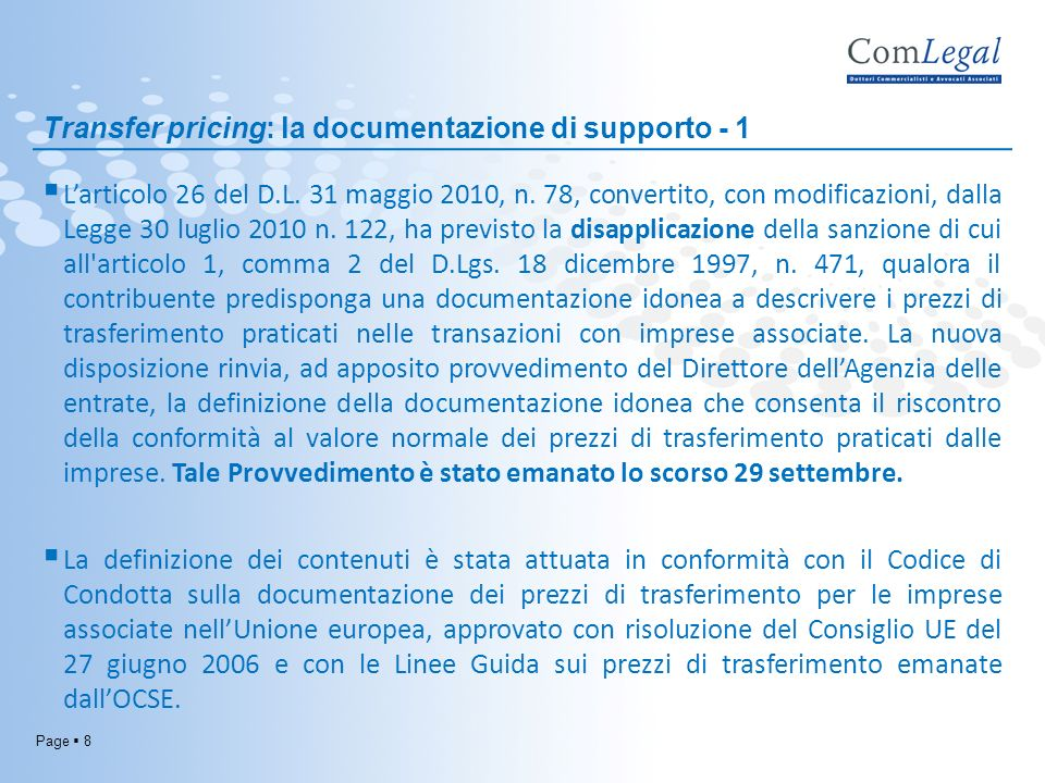 Transfer pricing: la documentazione di supporto - 1