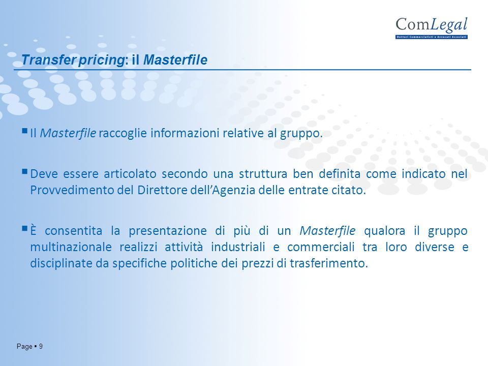 Transfer pricing: il Masterfile