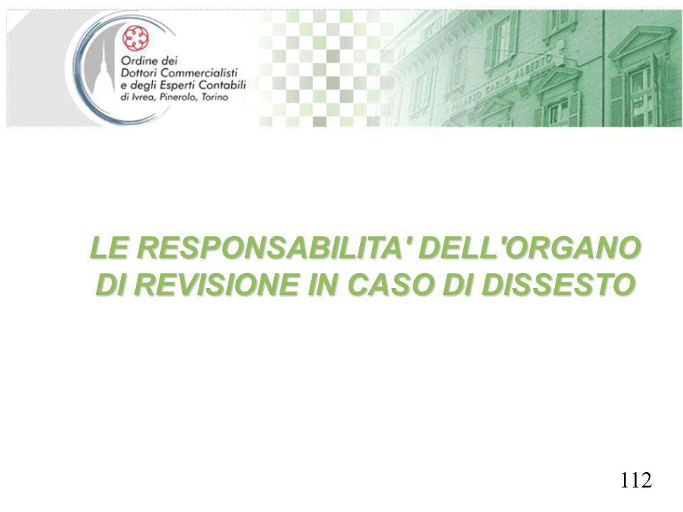 LE RESPONSABILITA DELL ORGANO DI REVISIONE IN CASO DI DISSESTO