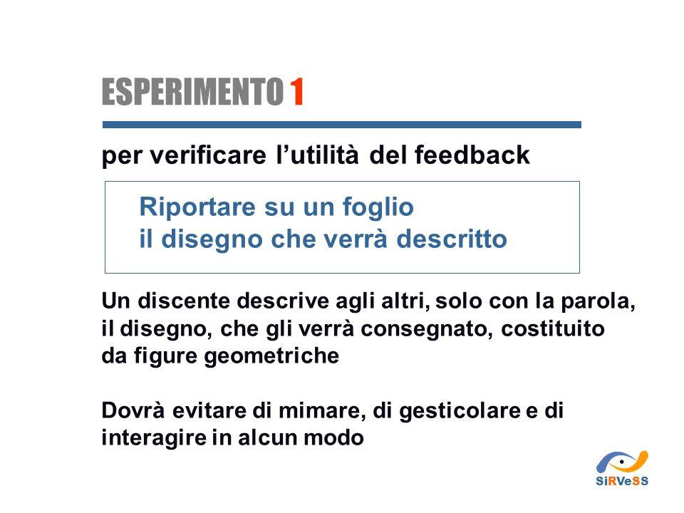 ESPERIMENTO 1 per verificare l'utilità del feedback