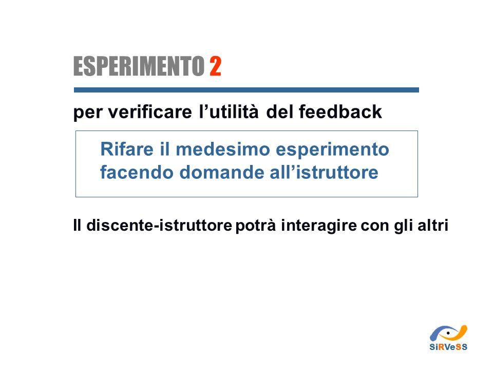 ESPERIMENTO 2 per verificare l'utilità del feedback