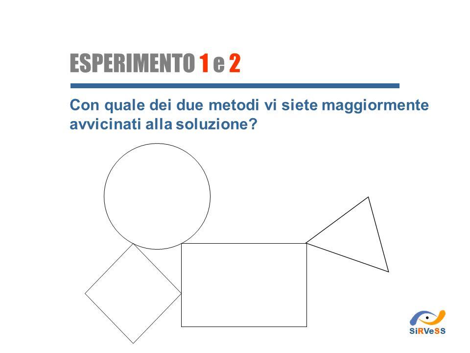 ESPERIMENTO 1 e 2 Con quale dei due metodi vi siete maggiormente avvicinati alla soluzione SiRVeSS