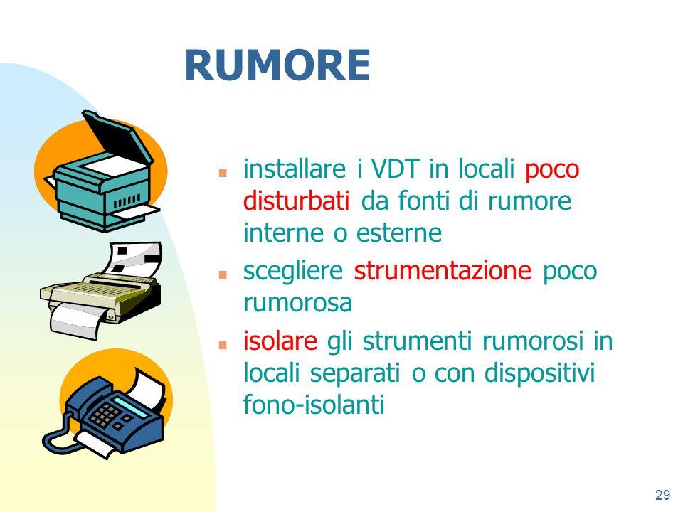 27/03/2017 RUMORE. installare i VDT in locali poco disturbati da fonti di rumore interne o esterne.