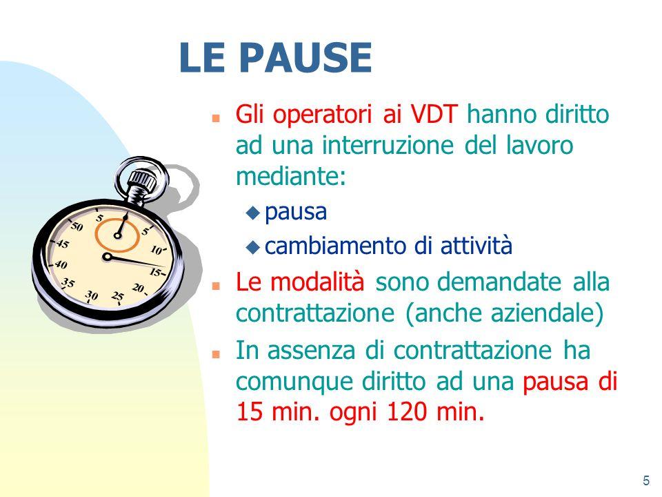 27/03/2017 LE PAUSE. Gli operatori ai VDT hanno diritto ad una interruzione del lavoro mediante: pausa.