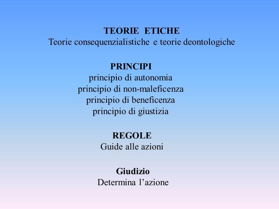 TEORIE ETICHE PRINCIPI REGOLE Giudizio