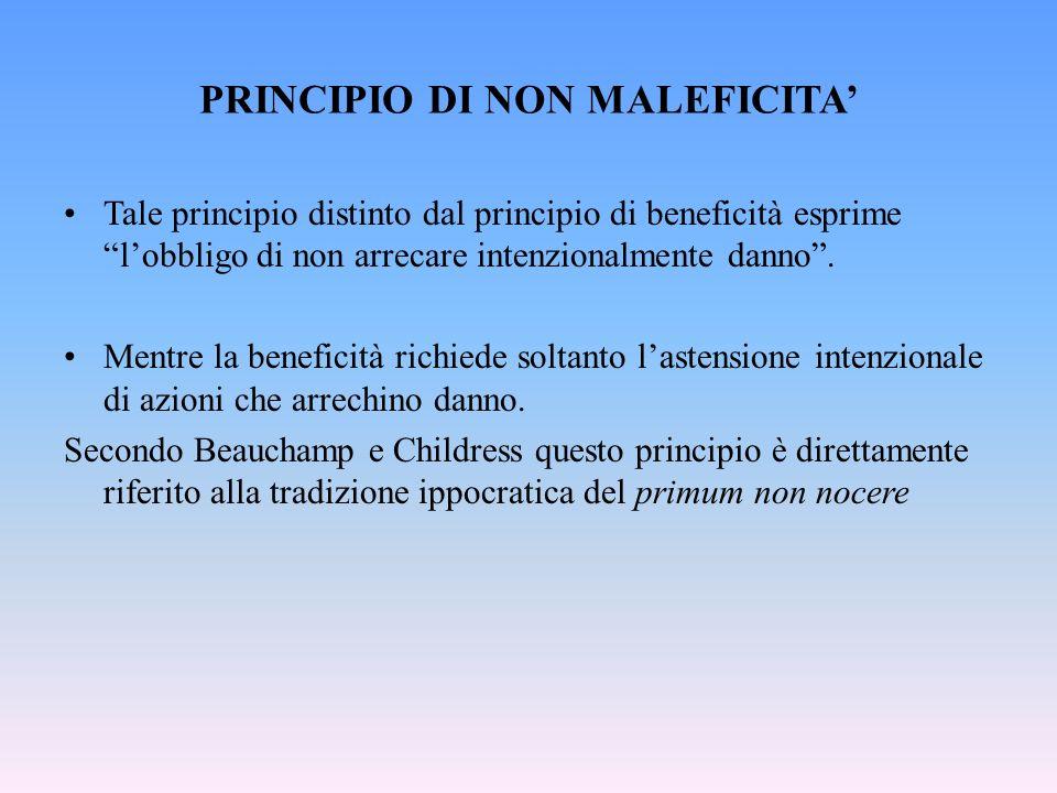 PRINCIPIO DI NON MALEFICITA'