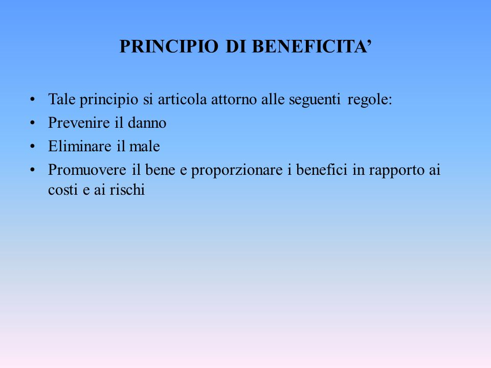 PRINCIPIO DI BENEFICITA'