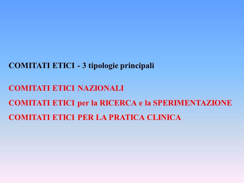 COMITATI ETICI - 3 tipologie principali