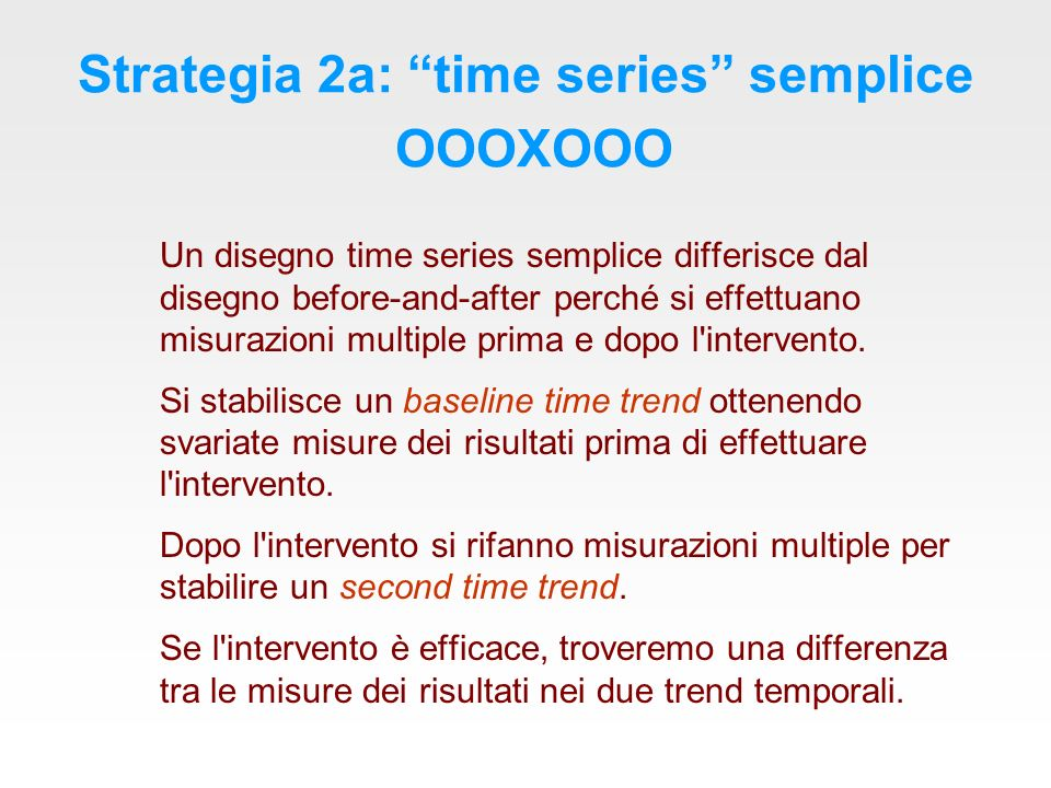 Strategia 2a: time series semplice OOOXOOO