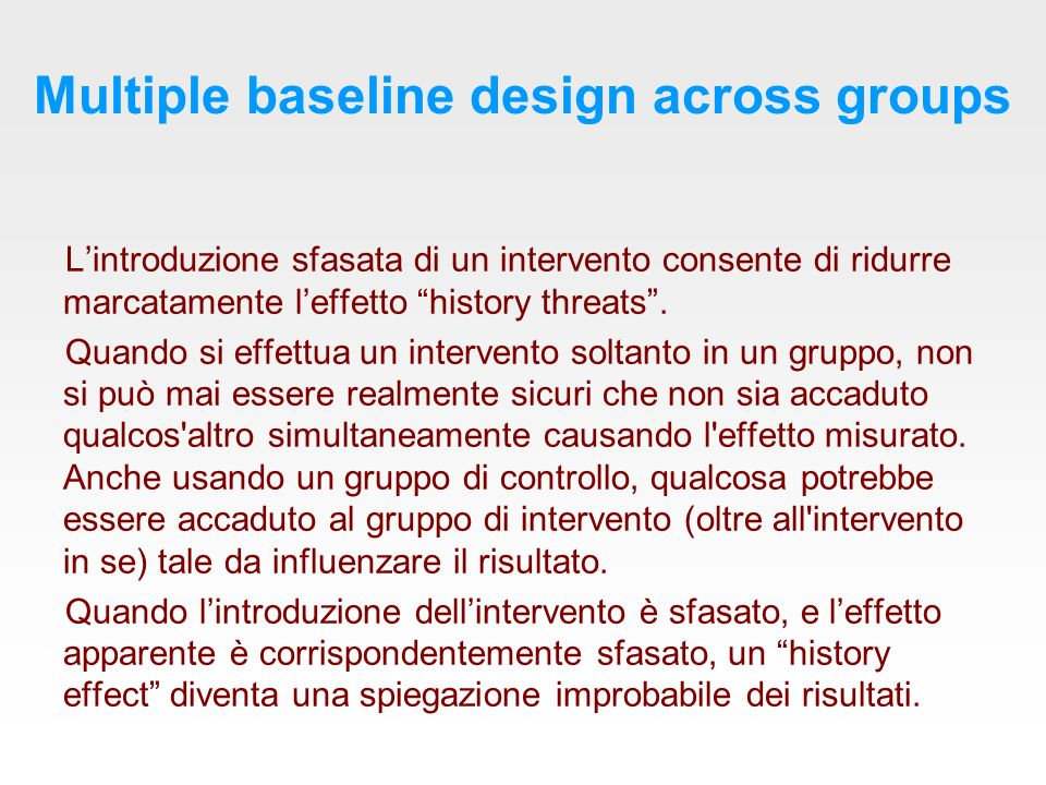 Multiple baseline design across groups