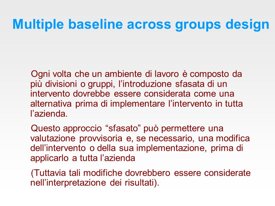 Multiple baseline across groups design