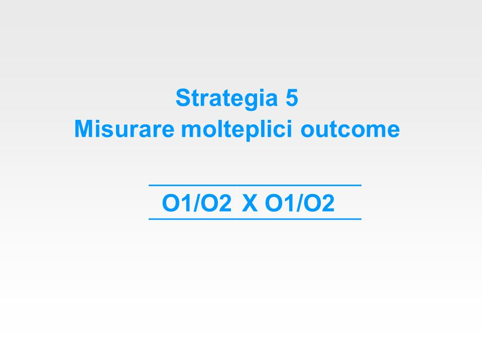 Strategia 5 Misurare molteplici outcome