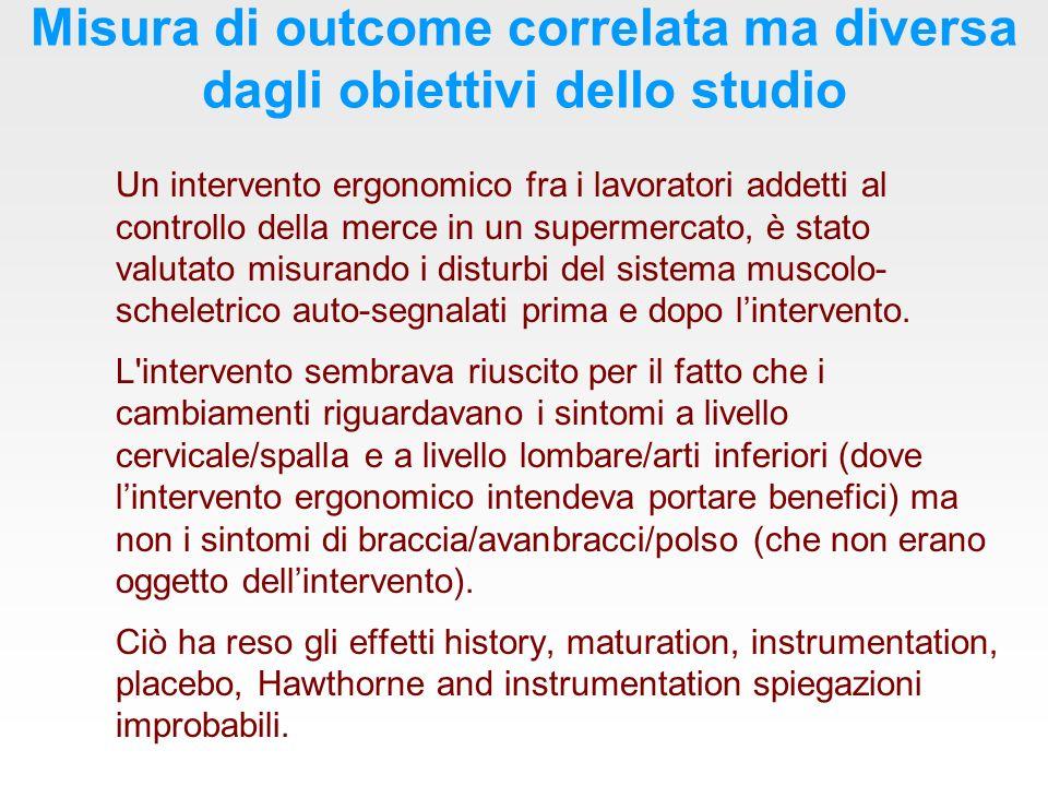 Misura di outcome correlata ma diversa dagli obiettivi dello studio