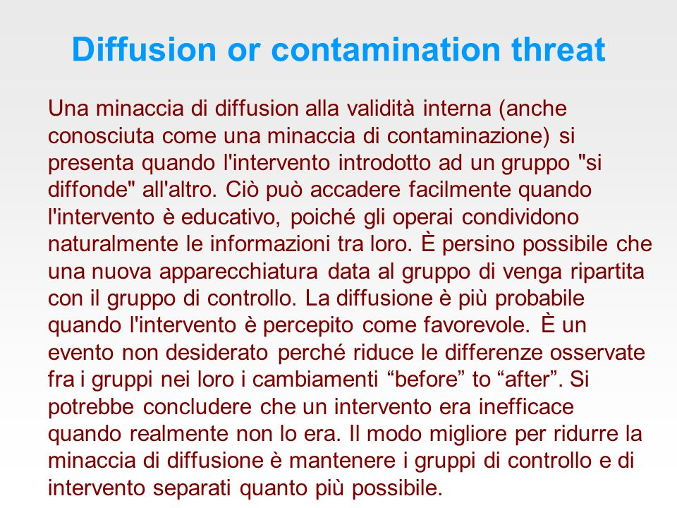 Diffusion or contamination threat