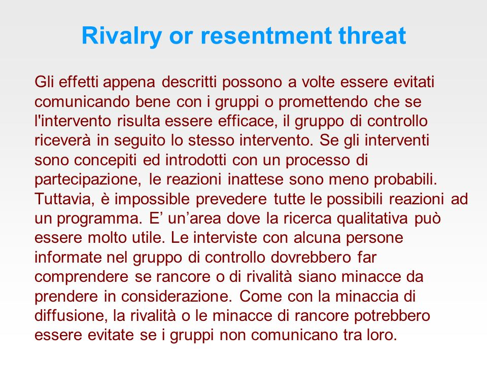 Rivalry or resentment threat