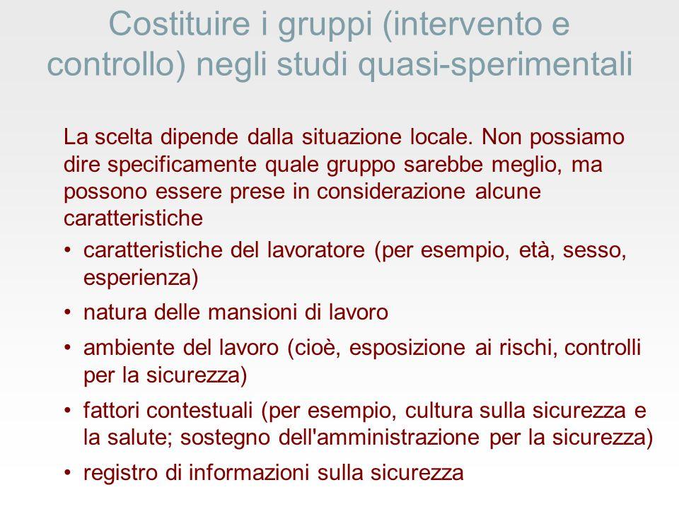 Costituire i gruppi (intervento e controllo) negli studi quasi-sperimentali