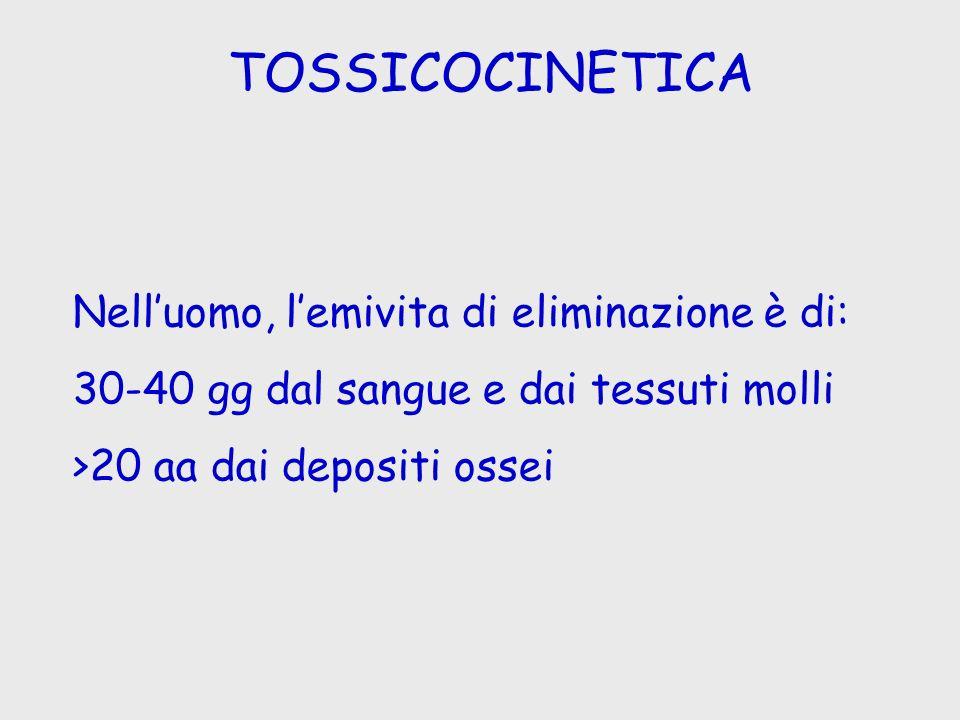 TOSSICOCINETICA Nell'uomo, l'emivita di eliminazione è di: