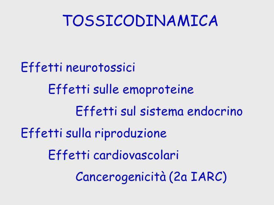 TOSSICODINAMICA Effetti neurotossici Effetti sulle emoproteine