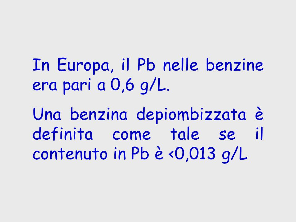 In Europa, il Pb nelle benzine era pari a 0,6 g/L.