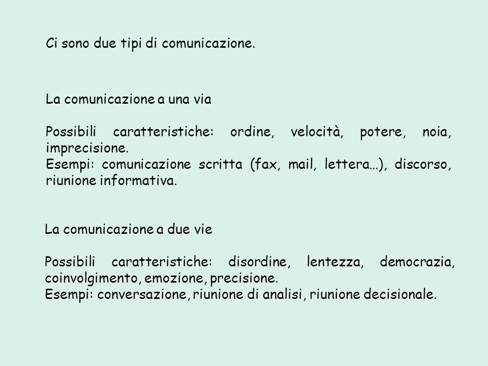 Ci sono due tipi di comunicazione.