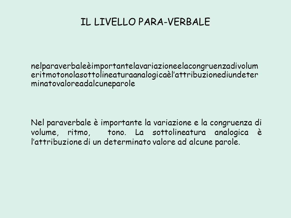 IL LIVELLO PARA-VERBALE