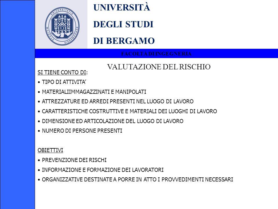 UNIVERSITÀ DEGLI STUDI DI BERGAMO VALUTAZIONE DEL RISCHIO