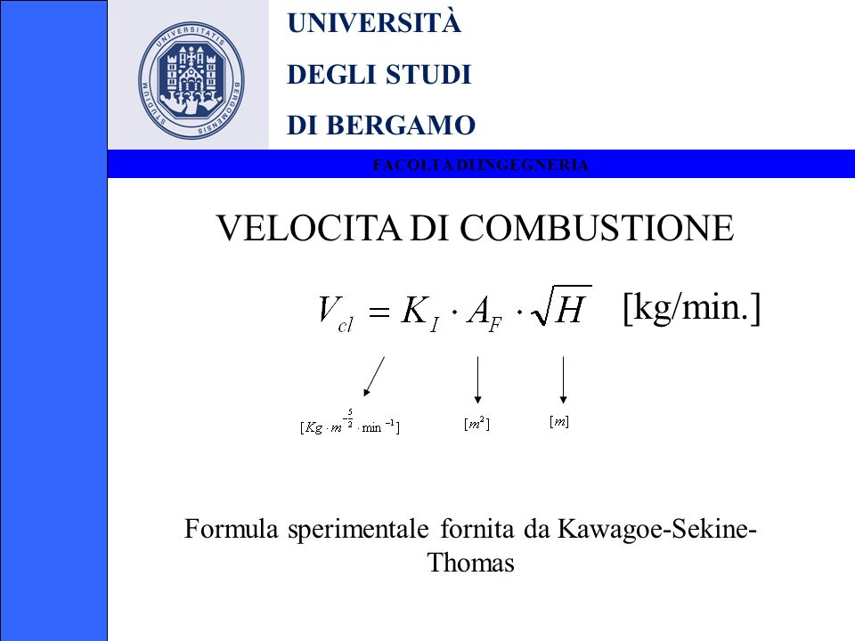 Formula sperimentale fornita da Kawagoe-Sekine-Thomas