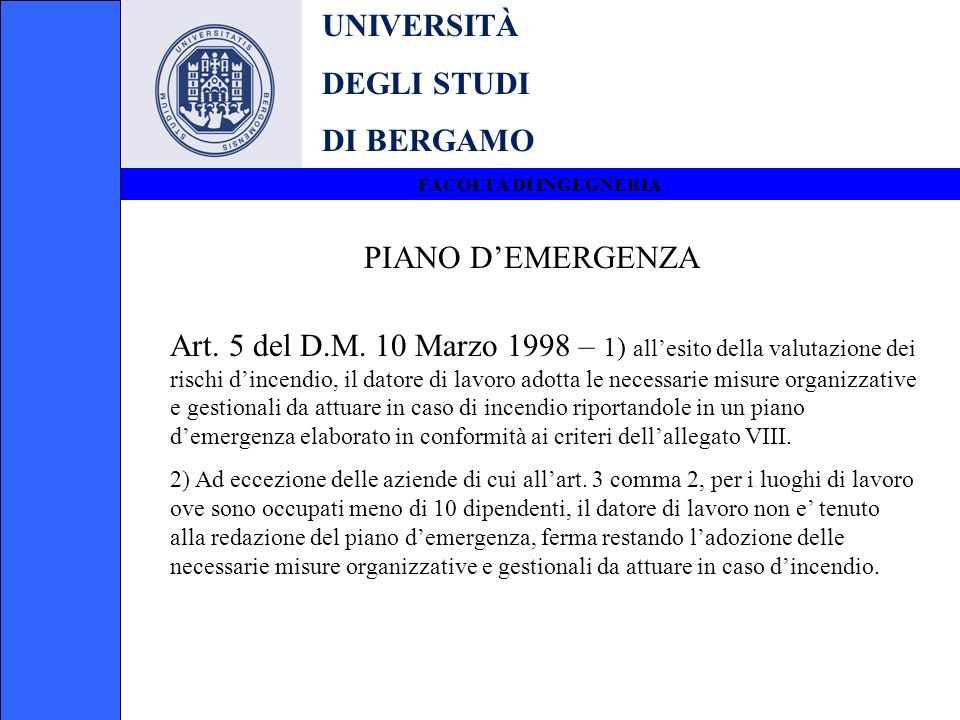 UNIVERSITÀ DEGLI STUDI DI BERGAMO PIANO D'EMERGENZA