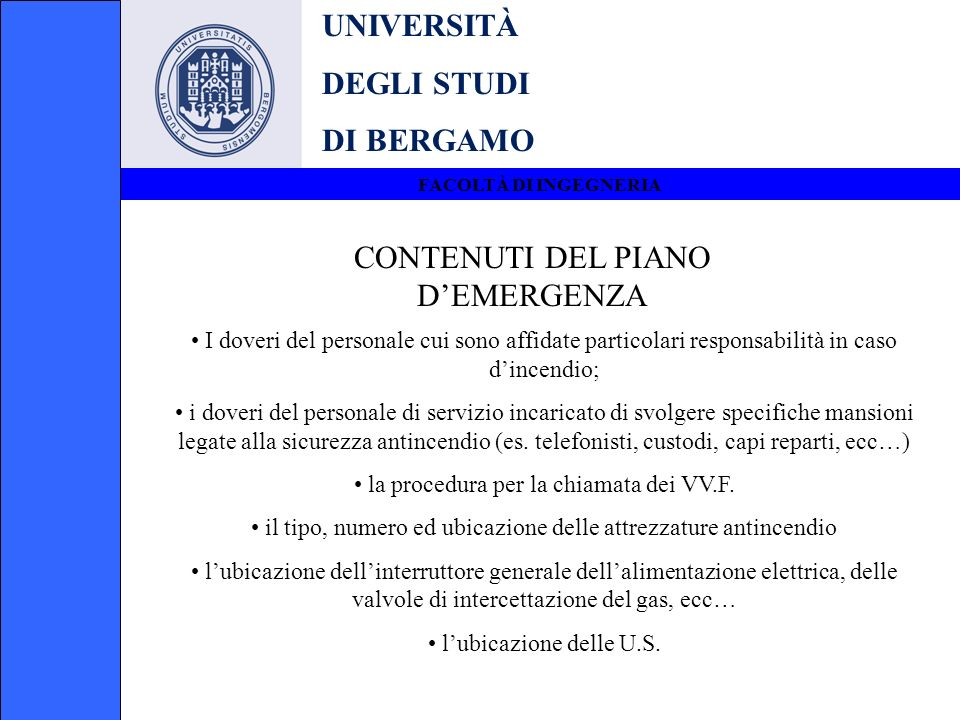 CONTENUTI DEL PIANO D'EMERGENZA