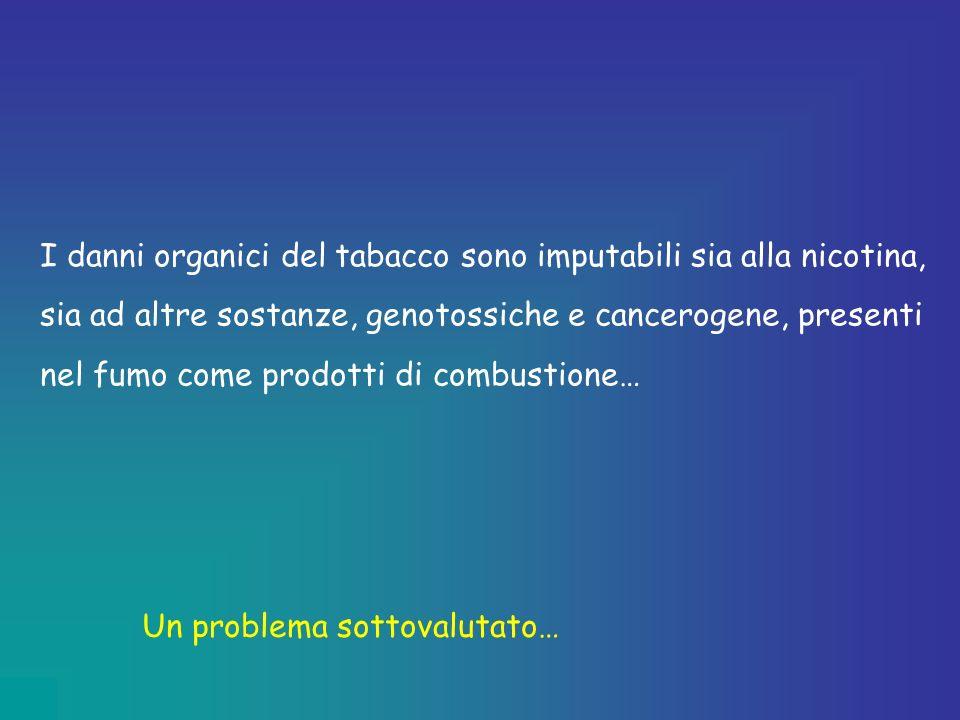 I danni organici del tabacco sono imputabili sia alla nicotina, sia ad altre sostanze, genotossiche e cancerogene, presenti nel fumo come prodotti di combustione…