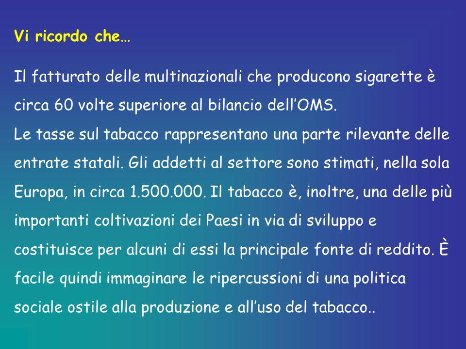 Vi ricordo che… Il fatturato delle multinazionali che producono sigarette è circa 60 volte superiore al bilancio dell'OMS.