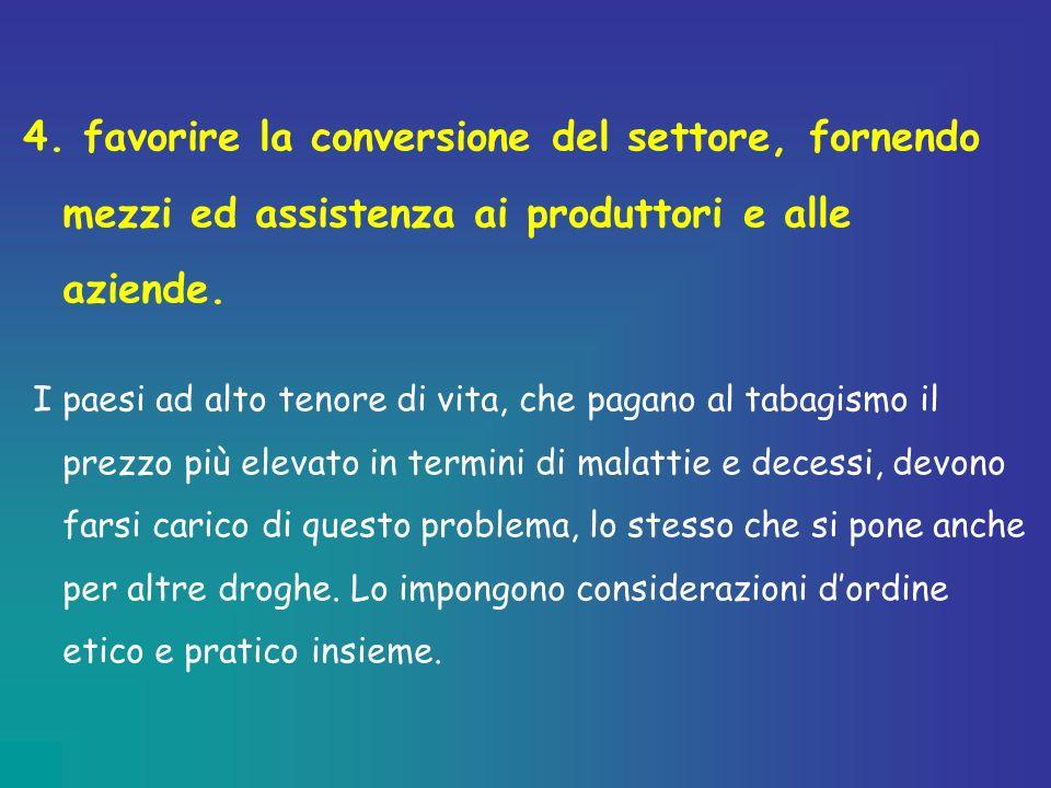 4. favorire la conversione del settore, fornendo mezzi ed assistenza ai produttori e alle aziende.