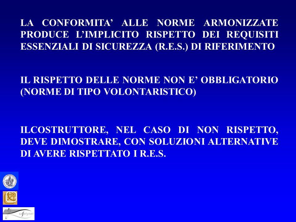 LA CONFORMITA' ALLE NORME ARMONIZZATE PRODUCE L'IMPLICITO RISPETTO DEI REQUISITI ESSENZIALI DI SICUREZZA (R.E.S.) DI RIFERIMENTO