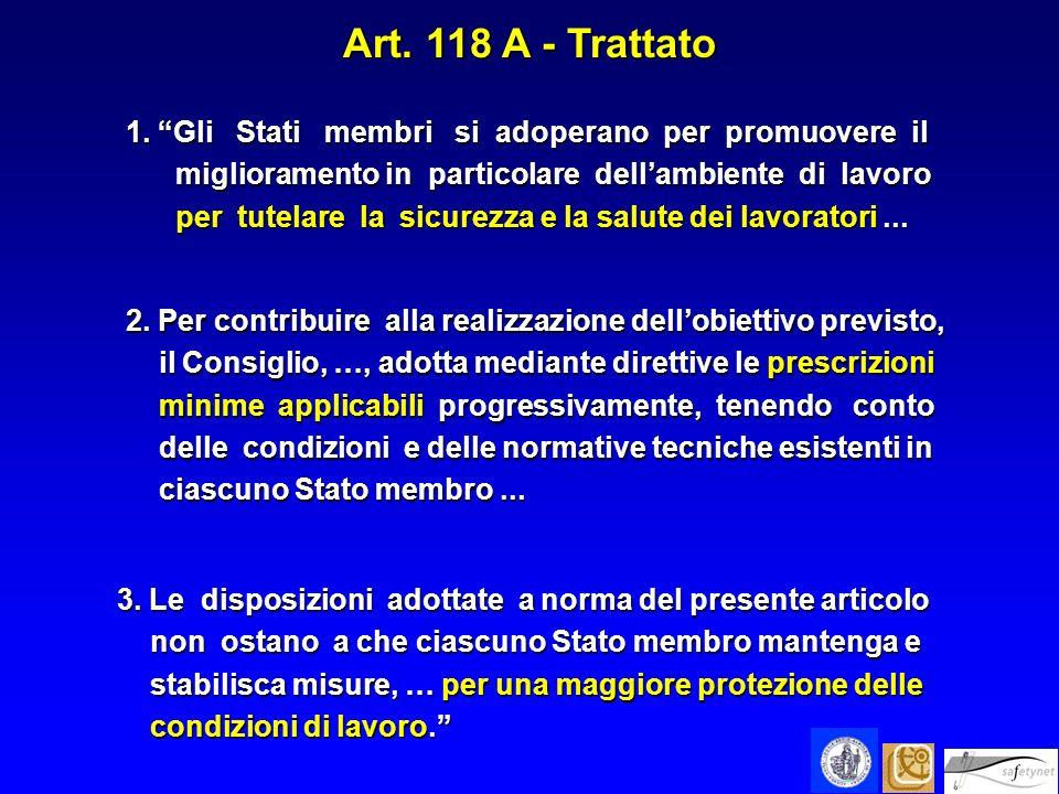 Art. 118 A - Trattato 1. Gli Stati membri si adoperano per promuovere il. miglioramento in particolare dell'ambiente di lavoro.