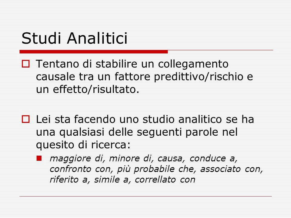 Studi Analitici Tentano di stabilire un collegamento causale tra un fattore predittivo/rischio e un effetto/risultato.