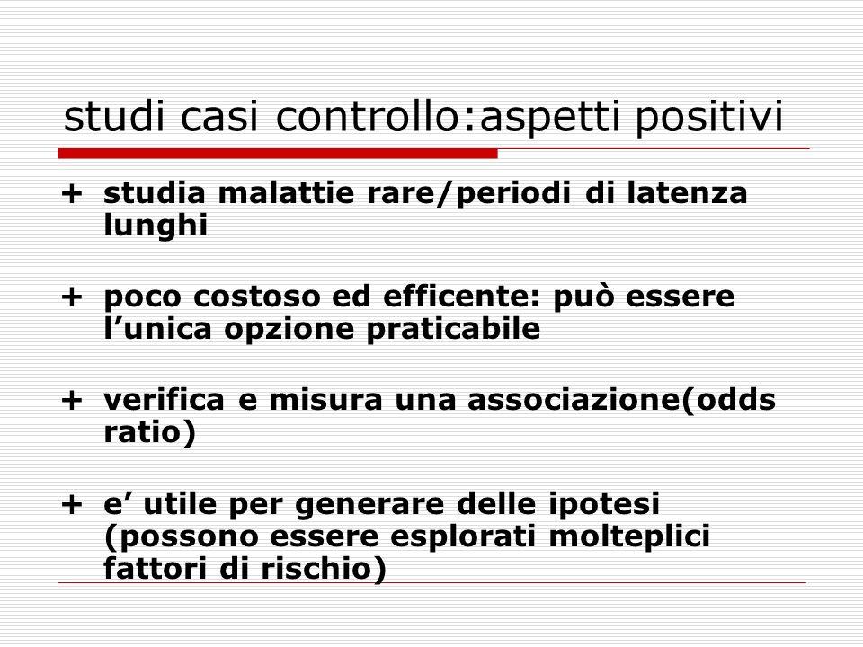 studi casi controllo:aspetti positivi