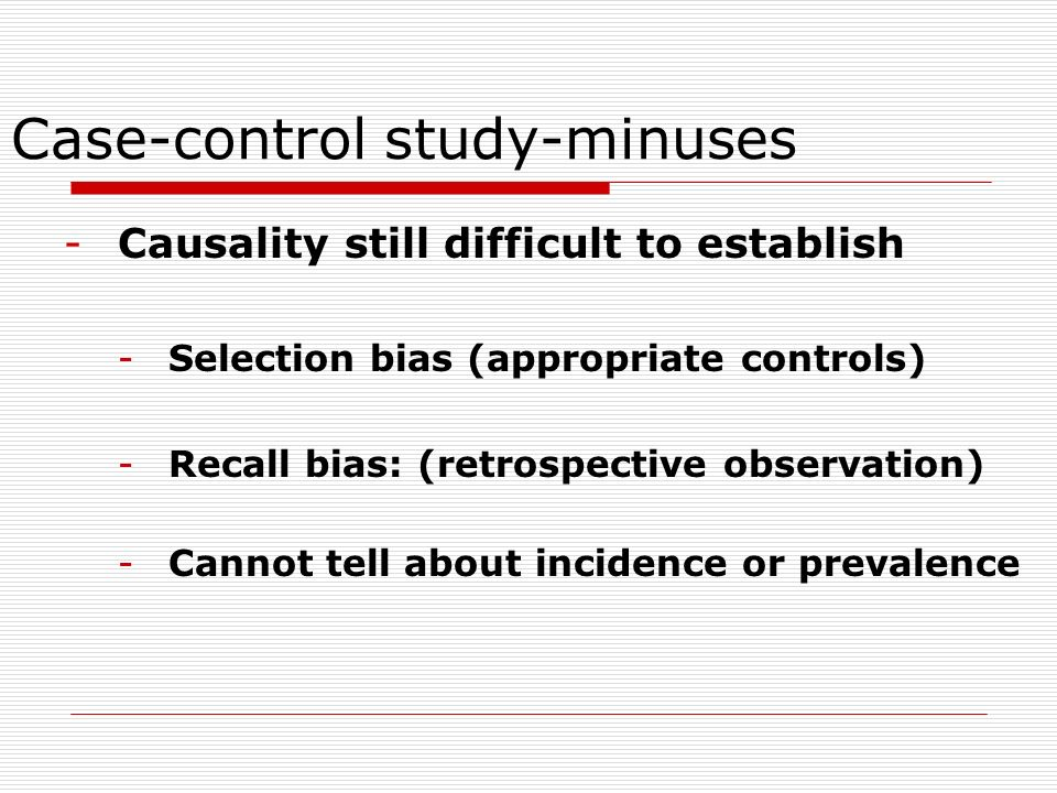 Case-control study-minuses